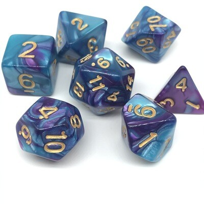Dice Set - Teal and purple marbled with gold numbers