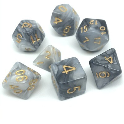 Dice Set - Black and white marbled with gold numbers