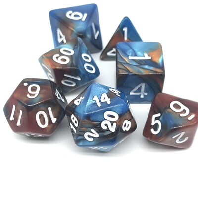 Dice Set - Brown and blue marbled with white numbers