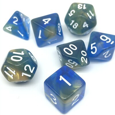 Dice Set - Blue transparent and yellow marbled with white numbers
