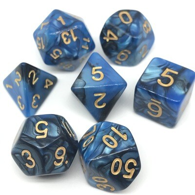 Dice Set - Black and blue marbled with gold numbers