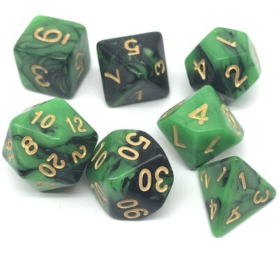 Dice Set - Black and green marbled with gold numbers