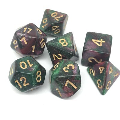 Dice Set - Red marbled and green sparkly with gold numbers