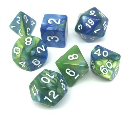 Dice Set - Blue and green marbled with white numbers