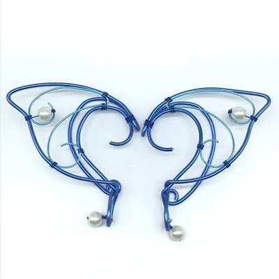 Elf Ear Cuff - Dual Tone Blue with White Beads