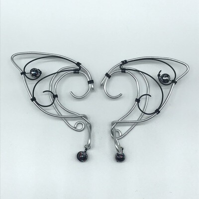 Elf Ear Cuff - Silver and Black with Black Shiny Beads