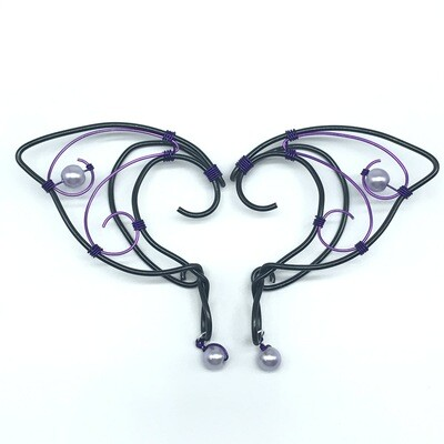 Elf Ear Cuff - Black and Purple with Lavender Beads