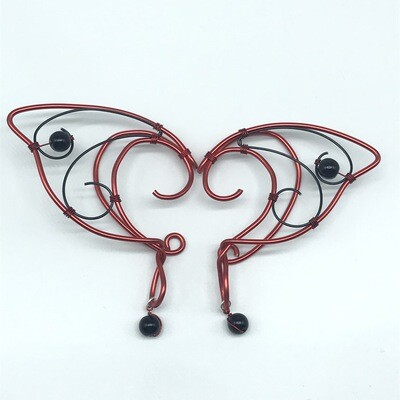 Elf Ear Cuff - Red and Black with Black Beads