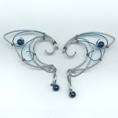 Elf Ear Cuff - Silver and Cyan with Cobalt Beads