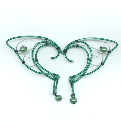 Elf Ear Cuff - Green and Silver with Green Beads