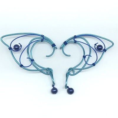 Elf Ear Cuff - Dual Tone Blue with Cobalt Beads