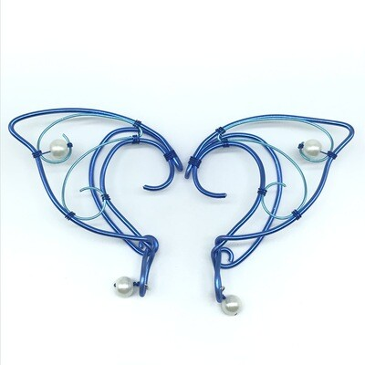 Elf Ear Cuff - Dual Tone Blue variant with White Beads