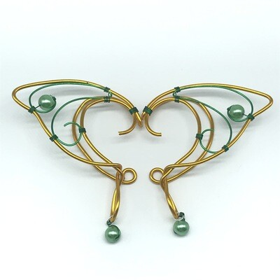 Elf Ear Cuff - Yellow Gold and Green with Green Beads
