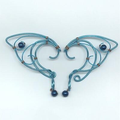 Elf Ear Cuff - Cyan with Cobalt Beads