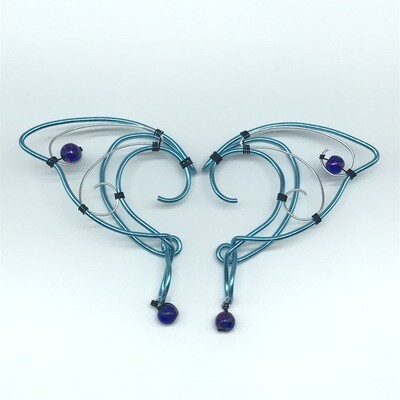 Elf Ear Cuff - Cyan and Silver with Cobalt Shiny Beads
