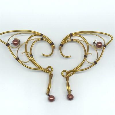 Elf Ear Cuff - Yellow Gold with Orange Beads