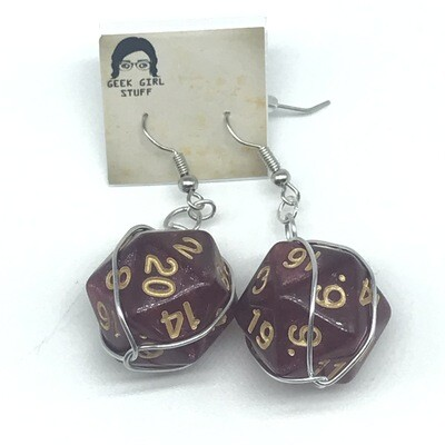 Dice Earrings - Marbled shimmery red with gold numbers