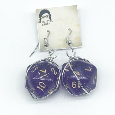 Dice Earrings - Sparkly purple with gold numbers