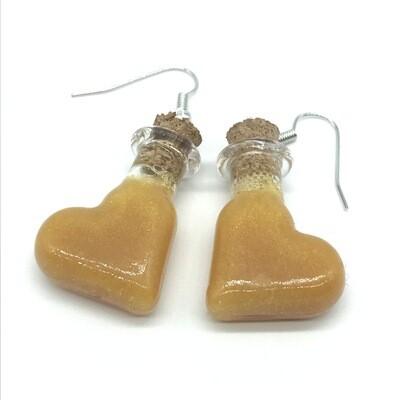 Potion Earrings - Golden yellow, tilt heart bottle