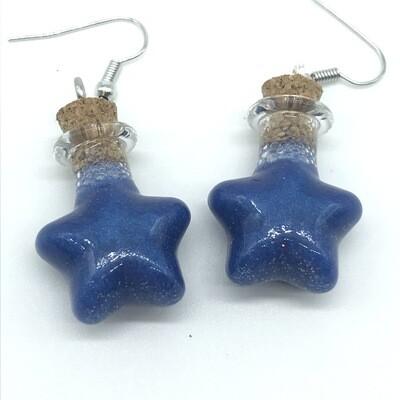 Potion Earrings - Indigo blue, star bottle