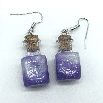 Potion Earrings - Purple and white, square bottle