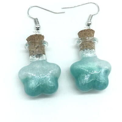 Potion Earrings - Teal and white, flower bottle
