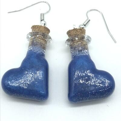 Potion Earrings - Indigo blue, tilted heart bottle