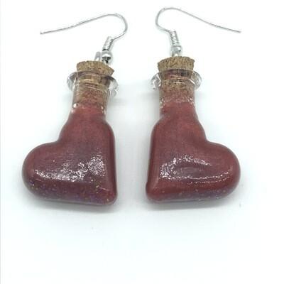 Potion Earrings - Copper red, tilted heart bottle