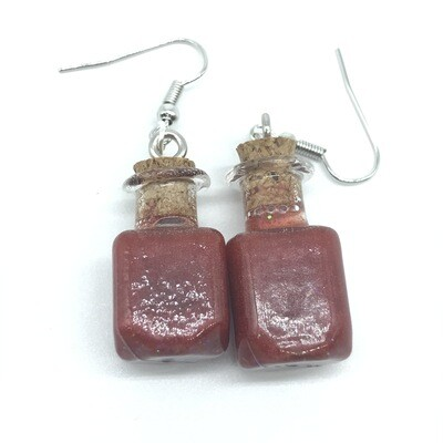Potion Earrings - Copper red, square bottle