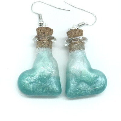 Potion Earrings - Teal and white, tilted heart bottle