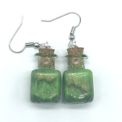 Potion Earrings - Olive and lime green, square bottle