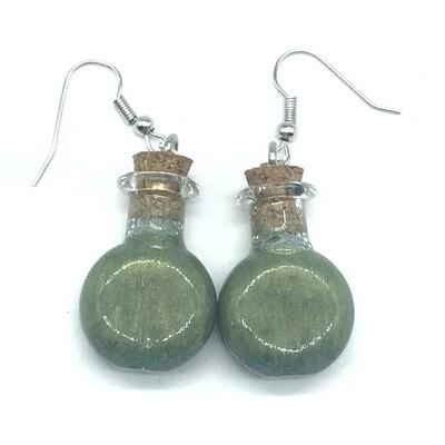 Potion Earrings - Olive green, round flat bottle