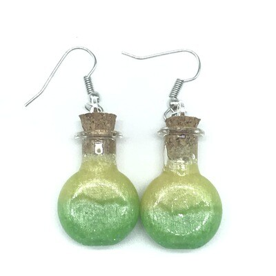 Potion Earrings - Lime green and yellow, round flat bottle