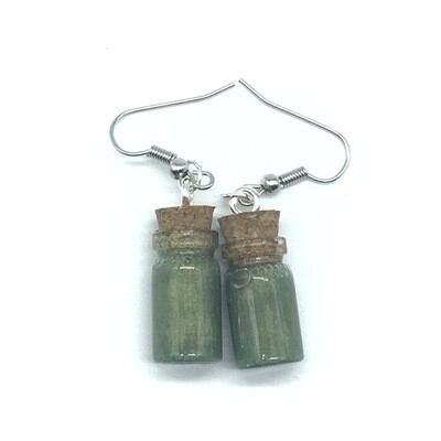 Potion Earrings - Olive green, small cylinder bottle