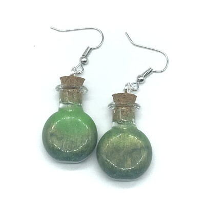 Potion Earrings - Olive and lime green, round flat bottle