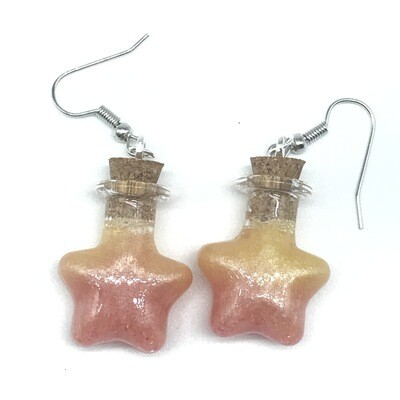 Potion Earrings - Peach and yellow, star bottle