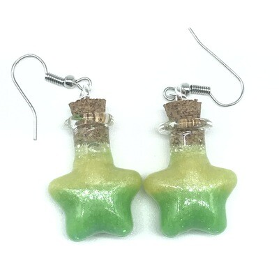 Potion Earrings - Lime green and yellow, star bottle