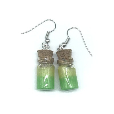 Potion Earrings - Lime green and yellow, small cylinder bottle