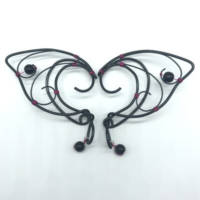 Elf Ear Cuff - Black with magenta accents and Black Beads
