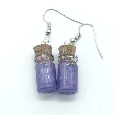 Potion Earrings - Lavender, short cylinder bottle
