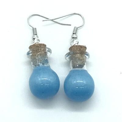 Potion Earrings - Cyan, round droplet bottle