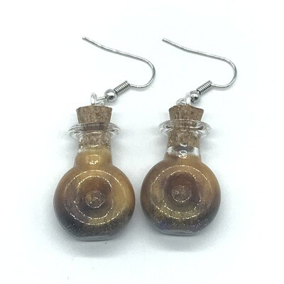 Potion Earrings - Brown and gold, round indented bottle