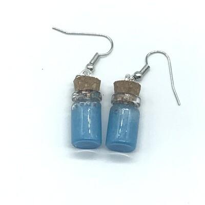 Potion Earrings - Cyan, short cylinder bottle