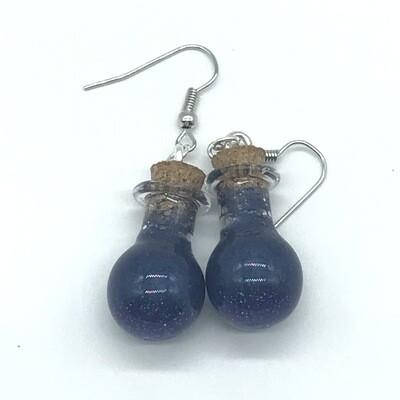 Potion Earrings - Indigo, round droplet bottle