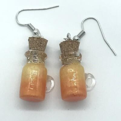 Potion Earrings - Orange and gold, coffee mug bottle
