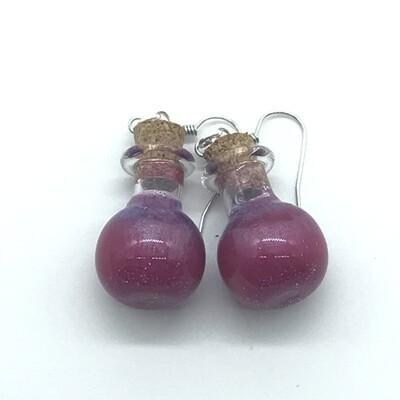Potion Earrings - Fuchsia and lavender, sphere bottle