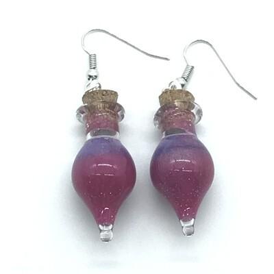 Potion Earrings - Fuchsia and lavender, drop bottle