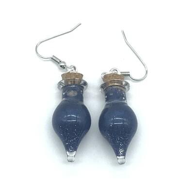 Potion Earrings - Indigo, drop bottle