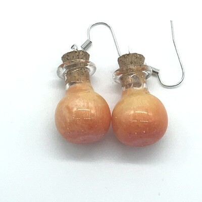 Potion Earrings - Orange and gold, sphere bottle