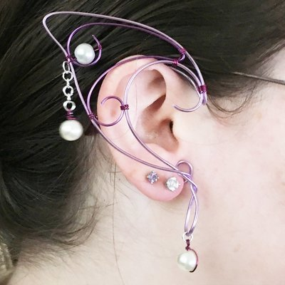 Elf Ear Cuff - Lavender, Purple, with beads